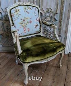 FRENCH LOUIS Cream Shabby Chic Carved Floral LINEN Fireside Library Arm Chair