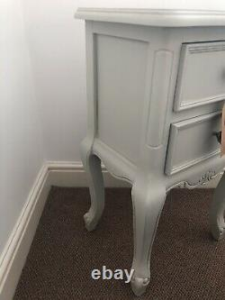 Fleur Grey Two Drawer Side Table French Country Style Shabby Chic Bed Bedroom
