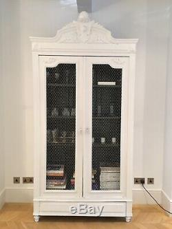 French Antique Shabby Chic Double Armoire Wardrobe