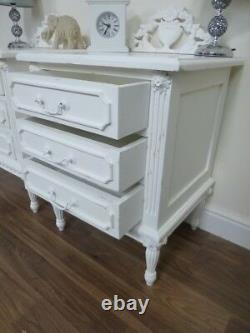 French Baroque Three Drawer Bedside Cabinets In White Pair Of Bedside Tables