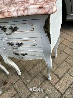 French Bombe Marble Top Bedside Cabinets Shabby Chic Louis Style