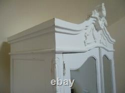 French Bordeaux Double Armoire Wardrobe In White Shabby Chic Style Wardrobe