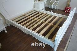 French Charroux Double Bed In White Shabby Chic Style Double Bed