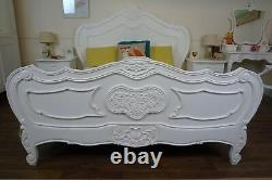 French Charroux King Size Bed In White Shabby Chic Style Bed