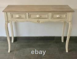 French Country Cream Large Dressing Table Console Table with Drawers Shabby Chic