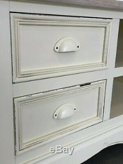 French Country Cream Large TV Unit Stand with Drawers Shabby Chic