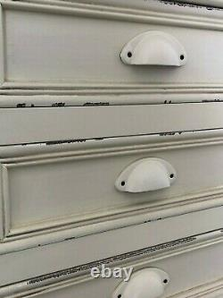 French Country Cream Wooden 3 Drawer Bedside Chest of Drawers Shabby Chic
