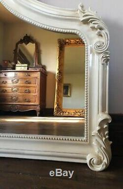 French Cream Ivory Ornate Shabby Chic Fireplace Arch Top Wall Over Mantle Mirror