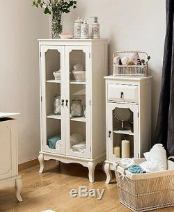 French Display Cabinet Shabby Chic Furniture White Glass Door Tall Storage Unit