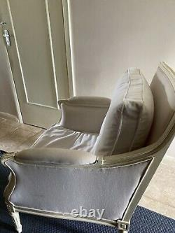 French Edwardian cream wood & Linen Arm Chair Vintage / Shabby Chic