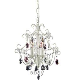 French Farmhouse Shabby Vintage Chic Iron Cage Pendant Chandelier Floral Light