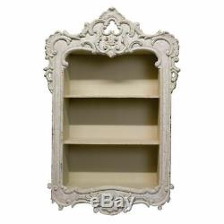 French Hand Carved White Wood Shabby Chic Wall Shelf Display Unit/Cupboard