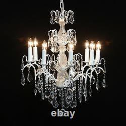 French Large 8 Branch Antique White Shabby Chic Glass Lighting Chandelier