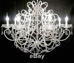 French Large White 8 Arm Branch Shallow Cut Glass Chandelier Shabby Chic Quality