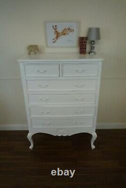 French Louis 2/4 Drawer Chest Of Drawers In White Shabby Chic Style