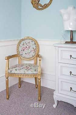 French Louis Armchair Gold Green Shabby Chic Antique Style Floral Bedroom Chair