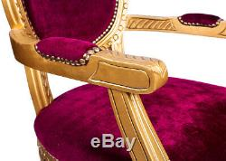 French Louis Armchair Gold Red Shabby Chic Antique Style Bedroom Hall Chair