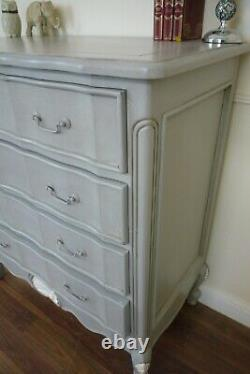 French Louis Four Drawer Chest Of Drawers In Mercury Grey Shabby Chic Style