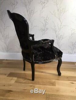 French Louis Shabby Chic Chair Black Crushed Velvet With Black Frame Diamantes