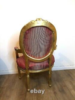 French Louis Shabby Chic Throne Chair Red Striped with Gold Frame