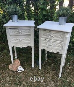 French Louis Style Bedside Tables Cabinets Drawers Vintage Carved Oak Cabinets