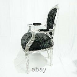 French Louis Style Shabby Chic Black Crushed Throne Chair with Silver Frame