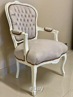 French Louis Style Shabby Chic Chair Beige Velvet Fabric with Cream Frame