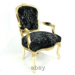French Louis Style Shabby Chic Chair Black Crushed Velvet with Gold Frame