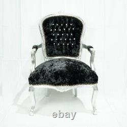 French Louis Style Shabby Chic Chair Black Crushed W Silver Frame & Diamantes