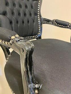 French Louis Style Shabby Chic Chair Black Fabric with Black Frame