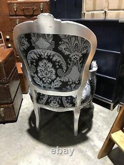 French Louis Style Shabby Chic Chair Black/Sil Demask with Silver Frame model 2