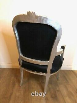 French Louis Style Shabby Chic Chair Black Velvet With A Paisley Design