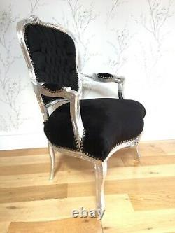 French Louis Style Shabby Chic Chair Black Velvet with Silver Frame