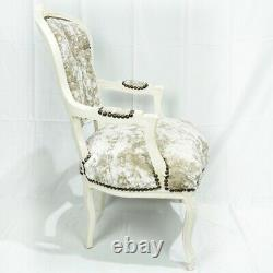 French Louis Style Shabby Chic Chair Cream Crushed Velvet with Cream Frame
