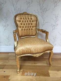 French Louis Style Shabby Chic Chair Gold Demask with Gold Frame