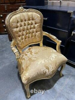 French Louis Style Shabby Chic Chair Gold Floral Pattern with Gold Frame