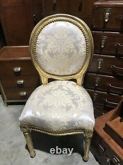 French Louis Style Shabby Chic Chair Gold Floral with Gold Frame