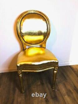 French Louis Style Shabby Chic Chair Gold Leatherette with Gold Frame