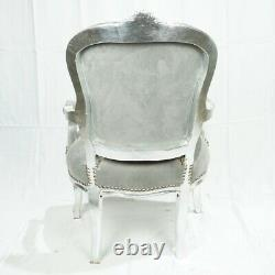 French Louis Style Shabby Chic Chair Grey Velvet with Silver Frame