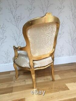 French Louis Style Shabby Chic Chair Light Gold Demask with Gold Frame