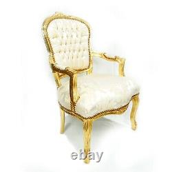 French Louis Style Shabby Chic Chair Light Gold Floral Pattern with Gold Frame