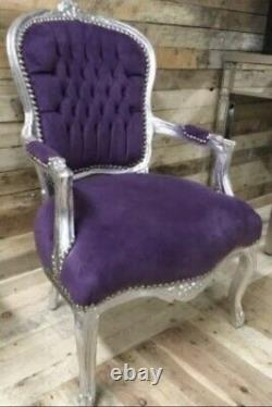 French Louis Style Shabby Chic Chair Purple Velvet with Silver Frame