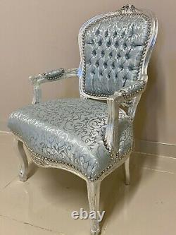 French Louis Style Shabby Chic Chair Silver Damask Fabric with Silver Frame
