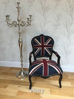 French Louis Style Shabby Chic Chair Union Jack with Black Frame