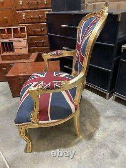 French Louis Style Shabby Chic Chair Union Jack with Gold Frame