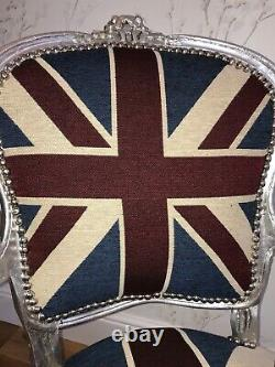 French Louis Style Shabby Chic Chair Union Jack with Silver Frame