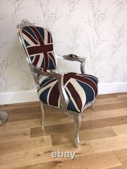 French Louis Style Shabby Chic Chair with Union Jack and Silver frame