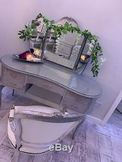 French Louis Style Shabby Chic Dressing Table With Triple Mirror