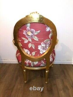 French Louis Style Shabby Chic Red Floral Throne Chair with Gold Frame