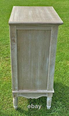 French Louis XV Shabby Chic Style 4 Drawer Bedside Cabinet (cy17609)